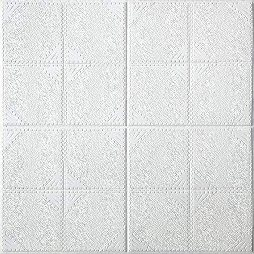 HX stickers 3D Motif géométrique Panneaux muraux, Respectueux de la Nature Mousse xpe Arrière-Plan Autocollants Plinthe Décoration de Mur-Blanc-A