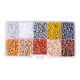 pandahall–Lot de 5000pcs/Packs 10Farbe PE Melty Perle hat Bügeln Perlen Sicherungen Basteln Recharges, Tube, Farben melangees, 3~ 3,3x 2,5~ 2.6mm, Kunststoff, multicolor 1, 3 ~ 3.3x2.5 ~ 2.6mm