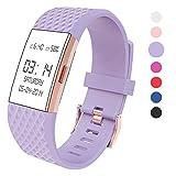 Bracelet de rechange en silicone pour Fitbit Charge 2, Wearlizer édition spéciale lavande rose or, violet