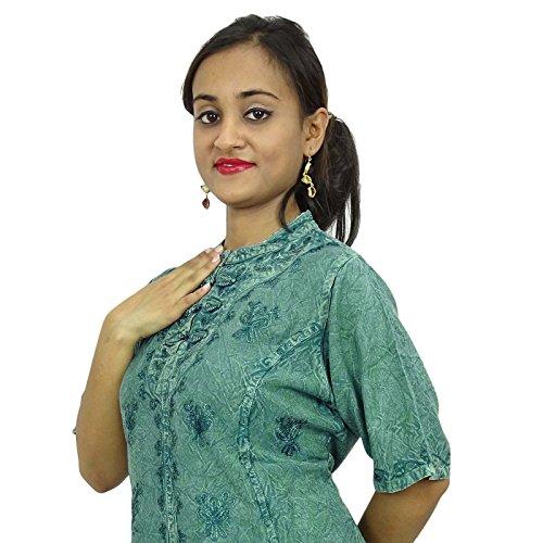 Été Femmes Boho Top Indien Tunique Casual Tunique Sundress Vert