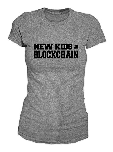 RiotBunny New Kids On The Blockchain Bitcoin Cryptocurrency BTC Ltc Digital Currency T-Shirt Camiseta Mujeres Gris Small