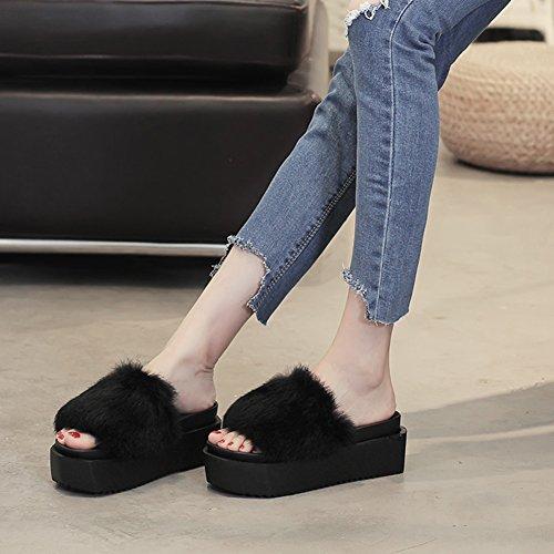 Lixiong pantofole femmina estate fondo spesso moda usura esterna antiscivolo scarpa, 4 colori -scarpe di moda (colore : nero, dimensioni : eu37/uk4-4.5/cn37/235)