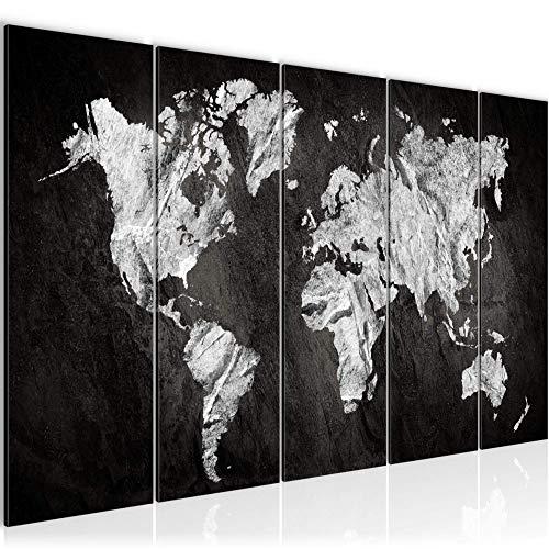 Bilder Weltkarte World map Wandbild 200 x 80 cm Vlies - Leinwand Bild XXL Format Wandbilder Wohnzimmer Wohnung Deko Kunstdrucke Weiß 5 Teilig - MADE IN GERMANY - Fertig zum Aufhängen 002955a