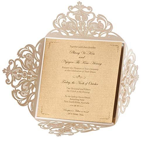 Wishmade 50X Einladungskarten Für Hochzeit Geburtstag Taufe
