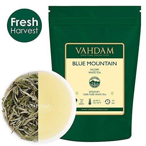 Exotische weiße Teeblätter aus den Blue Mountains (25 Tassen) - GESUNDHEITSTES TEE-TYP DER WELT - 100{f02ef2fdd6da5b71778ce91d83938b42109b06a267722210333b295696427574} zertifizierter reiner weißer Tee Loose Leaf - reich an kraftvollen Antioxidantien 50gr