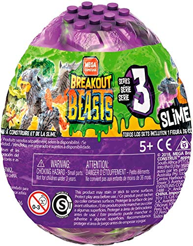 Mega Construx GFM71 - Breakout Beasts Mix 3, je 1 Überraschungs Monster zum Zusammenbauen im lila Ei mit Schleim, zufällige Auswahl, Slime Spielzeug ab 5 Jahren