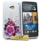 Accessory Master Blumen Design Silikon Schutzhülle für HTC One M7 lila