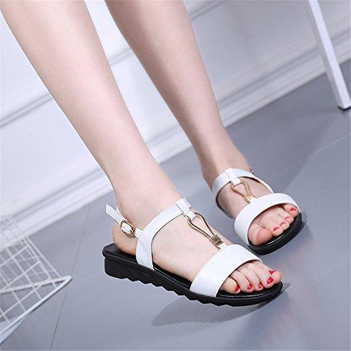 Sommer Damen Sandalen T-Typ Krawatte - Krawatte rutschfeste Schuhe Weiß