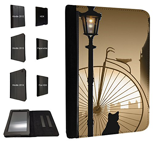 475 – Cute Cat Vintage Post Old City Design Fall Fashion Trend für alle Amazon Kindle Fire HD 17,8 cm 2012/HD7