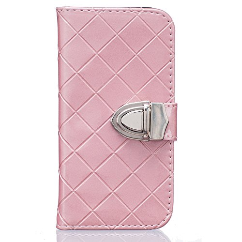iPhone Case Cover IPhone SE 5S 6 6S Plus Cas, Mode Grille Motif Smooth Surface Conception Folio PU Cuir Portefeuille Case Cover Avec Stand / Slot Carte Pour IPhone SE 5S 6 6S Plus ( Color : White , Si Pink