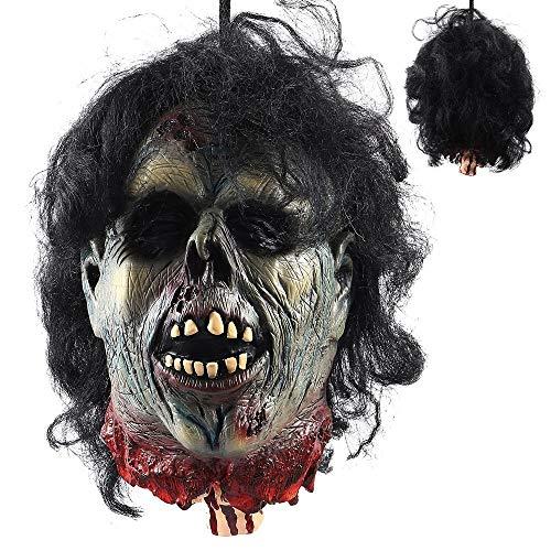 ZAHOYAN Halloween Requisiten Hängen Abgetrennter Kopf Man Evil Cut Off Corpse Head Ghost Animierter Zombiekopf Für Haunted Houses Party Halloween - Abgetrennter Kopf Kostüm