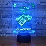luz de noche 46d Decoración para el hogar Juego de tronos Casa Stark Wolf Dragon Acrílico Lámpara de noche 3D Luz led con cambio de 7 colores