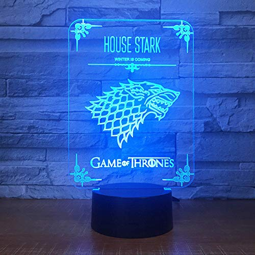 luz de noche 46d Decoración para el hogar Juego de tronos Casa Stark Wolf Dragon Acrílico Lámpara de noche 3D Luz led… 3