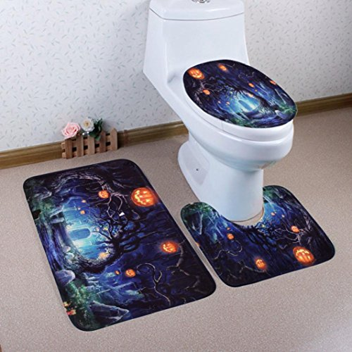 t Halloween Badezimmer mehrere Stil Ständer Teppich + Deckel WC-Deckelbezug + Badteppich, g, 50x80cm (Halloween-wc-sitz-deckel)