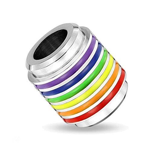 BlackAmazement Anhänger 316L Edelstahl Regenbogen Rainbow Tube Lederband Halskette Silber Pride (Anhänger ohne Lederkette) - Tube Adult