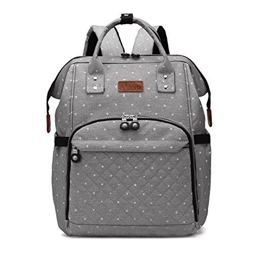 Kono Baby Wickelrucksack Wickeltasche mit Wickelunterlage Multifunktional Große Kapazität Babyrucksack Reisetasche Reiserucksack für Unterwegs (Punkt Grau)