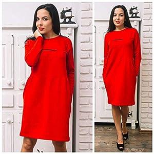 Damen Taschen Kleid in Rot, Größen M, L, XL, 2XL, 3XL