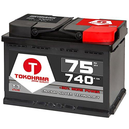 TOKOHAMA Autobatterie 75Ah 750A +30{a3fde3e835858ed01bb8ccfc578f9288512f31febc82ad001659b92d589264da} mehr Leistung Starterbatterie ersetzt 70Ah 72Ah 74Ah