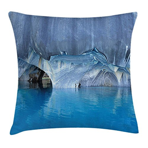 FAFANI Blue Throw Pillow Cushion Cover, Marble Cave General Carrera Lake in Chile Natural Wonders Rocks Azure Water, Decorative Square Accent Pillow Case, 18 X 18 Inches, Blue Purplegrey White