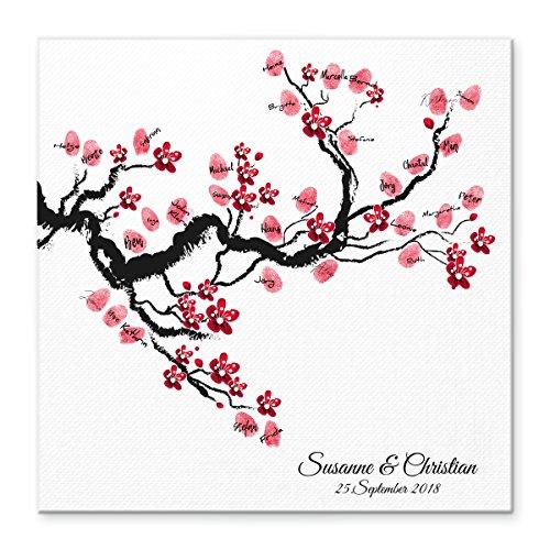 Madyes Leinwand Hochzeit Fingerabdruck Gästebuch Personalisiert Baum Chinese Cherry für Das Brautpaar als Geschenk, Hochzeitsdekoration, Namen mit Datum. 50x50 cm groß auf Keilrahmen Holz