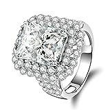 Bishilin Partner Ringe Silber 925 Smaragdschliff Weiß Zirkonia Rund Verlobungsring Trauring Silber Größe 60 (19.1)