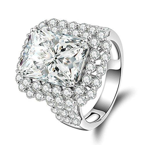 SonMo Silber 925 Ring Solitäre Ring Weiß Damen Ring Diamant Smaragdschliff Zirkonia Trauringe Hochzeit Ring Heiratsantrag Ring Frauen Größe 58 - Elektra Kostüm Frauen