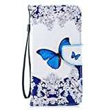 BONROY iPhone 6 Plus Hülle,Handyhülle iPhone 6S Plus Tasche mit [TPU-Innenschale] [Kartenfach] [Standfunktion], Lederhülle in Bookstyle füriPhone 6 Plus/6S Plus (5.5 Zoll)-(XC-Blauer Schmetterling)