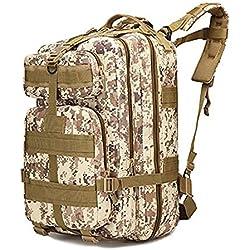 horeen 40L Deporte Mochila Militar Al Aire Libre Mochila Táctica Paquete de Asalto de 3 Días Mochila Molle Acampar Senderismo Trekking Caza Bug Out Bag (Desert Camouflage)
