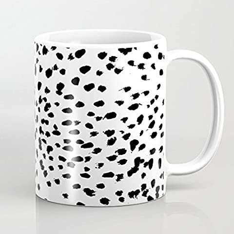 quadngaagd Noir Pois irréguliers 11-Ounce Mug Tasse à Café Tasse à thé Blanc