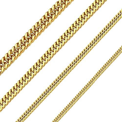 ChainsHouse 18K Gold Plated Cuban Link Chain Necklace for Men Women 10mm Wide 76cm Long, Joya Moda Collar de Cadena Acero Inoxidable