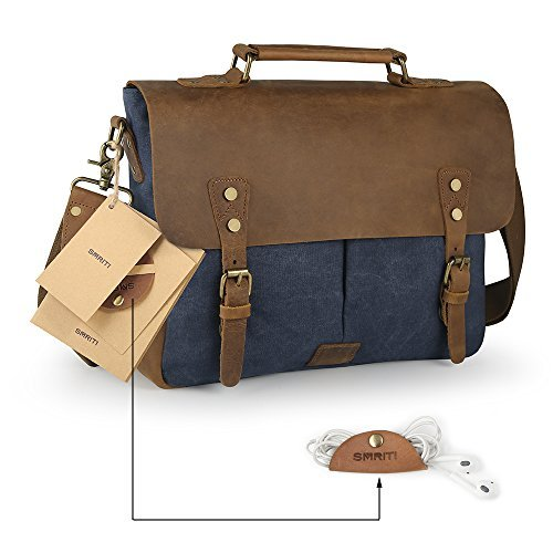 SMRITI Vintage 14-Inch Laptop Messenger Bag Leather Canvas Briefcase - Blue