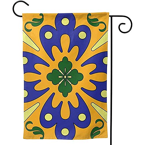 CHANGSHABF Haus Flagge,Home Garden Orange and Blue Talavera Tile Pattern Decoration 70X102Cm Double-Sided Garden Flag