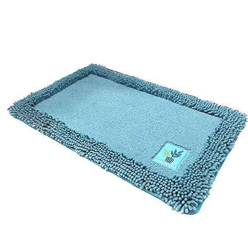 ille Teppich Mats Wasser Absorption Handbuch Stickerei Rutschfest Teppich Türöffnung Bad Fuß Pad,Blue,40X60CM ()