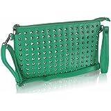 Damen grün genoppt Designer Oversized Clutch Handtasche mit Wristlet KCMODE