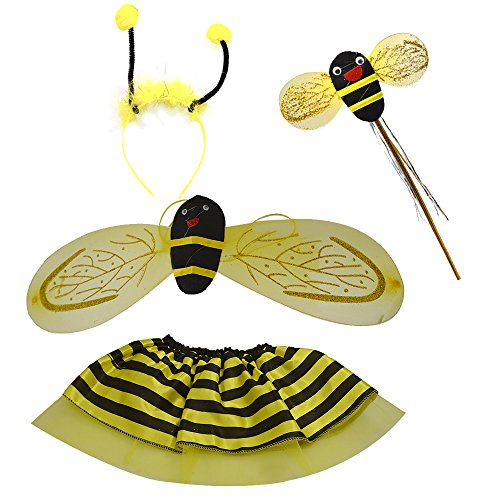 Gosear 4 Stk Cartoon Bee Stil Kinder Kids Halloween Kinder Tag Cosplay Party Kostüm Kleid Wings Stirnband Fotografie Foto Requisiten Kostüm (Baby Bee Kostüme)