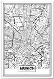 Panorama® Poster Karte von München 21 x 30 cm | Gedruckt