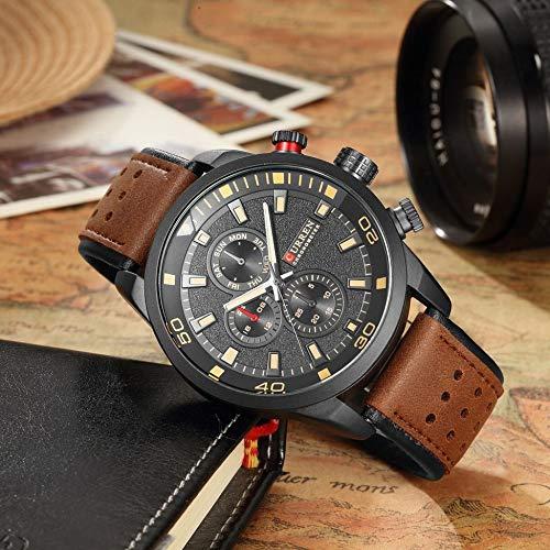 creatspaceDE Curren M8250 Luxus Herren Lederarmband Armbanduhr Hochwertige Herren Herren Mechanische Relogio Masculino Uhr (Kaffee) -