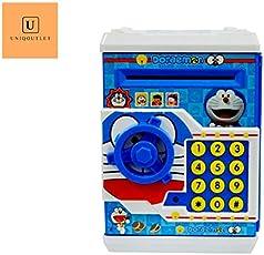 UniqOutlet Kid's Safe with Smart Lock Doraemon Piggy Bank ATM (Blue)