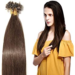 Extensions Keratine Pose a Chaud Extension Cheveux Naturel 100 Mèches/50g #04 Châtain - Pre Bonded Nail U Tip Remy Human Hair Extensions - 55cm