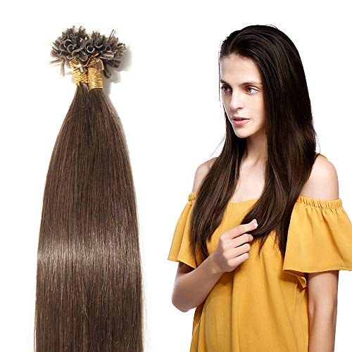Extensions Keratine Pose a Chaud Extension Cheveux Naturel 100 Mèches/50g #04 Châtain - Pre Bonded Nail U Tip Remy Human Hair Extensions - 50cm