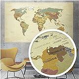 beneart® Weltkarte Vintage - Poster XXL - Weltkarte alt - Retro Motiv - Landkarte Poster groß - Geschenkidee - Weltkarte Wandbild - 140 x 82 cm (FineArt Poster)