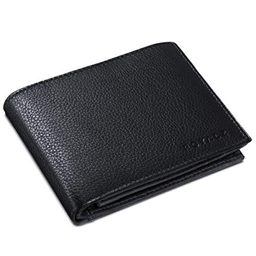 ROYALZ Leder Portemonnaie für Herren Geldbörse mit RFID-Schutz kompaktes Querformat Brieftasche im...
