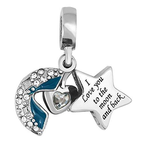 Sug jasmin, charm, con scritta in lingua inglese: i love you to the moon and back, cuore con perline, per braccialetto e base metal, colore: blue 2, cod. sjc_dpc_fa491_parent