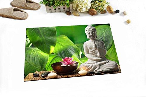 LB Badematte Anti Rutsch Antiform Waschbar Weich Dusche Teppich,40X60 cm/Spa,asiatischer Buddha,Zen,schwarzer Stein,Lotus - Asiatische Badezimmer