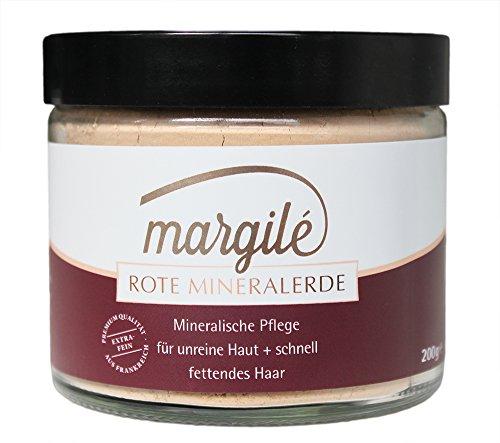 margilé rote Mineralerde – 200 g. Hochwertige und ultrafeine Tonerde aus Frankreich. Pulver für Masken, Peelings, Wickel und mehr. 100 % natürlich – wiederverschließbarer Glastiegel – für unreine - Art-haar-eisen