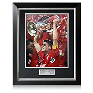 Deluxe Framed Steven Gerrard Signed Liverpool Champions League Photo (With Silver Inlay) from Exclusive Memorabilia