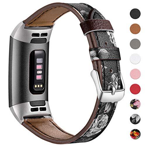 HUMENN Armband für Fitbit Charge 3 Leder Armbänder, Prämie Leder Einstellbare Ersatzband für Fitbit Charge 3, Fitness Zubehör für Männer Frauen, Groß Blumen Schwarz/Grau