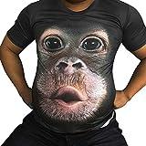 Sasstaids T-Shirt Uomo, Gorilla Stampata a Maniche Corte T-Shirt,Uomo Primavera Estate 3D Print O-Manica Corta Parti Superiori della Maglietta Camicetta caffè XXXL