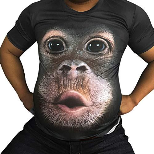 FRAUIT Shirts Herren Komisch 3D Print Oansatz Kurzarm T-Shirt Männer Frühling Sommer T-Shirt mit Orang Utan Print Lose Rundhals & Tailliert Mode Oberteile Kleidung Bluse Tops