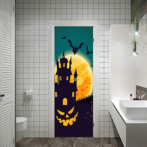 ZJING DIY Simulation tür Aufkleber Halloween Dekoration spukhaus, 3D Hause wasserdichte Selbstklebende tapete (38,5 cm * 200 cm * 2 Stücke),E (Halloween Glückliche Zusammen 1.)